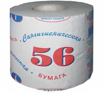 """Туалетная бумага """"Сангигиеническая 56"""" 1-слойная"""