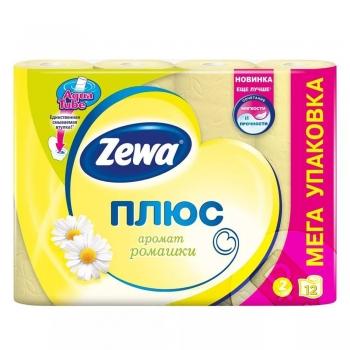 Туалетная бумага «Zewa Плюс» 12 рул., 2-х сл., Ромашка