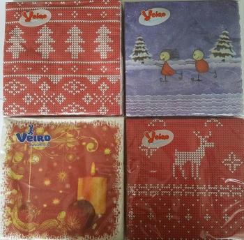Салфетки бумажные «Veiro», 20 л., 2- сл., 33х33 см Новогодние