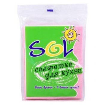 Салфетки для кухни «SOL» 30*38 (5шт.), вискоза