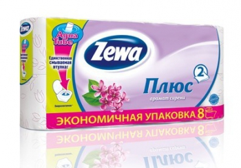 Туалетная бумага «Zewa Плюс» Сирень 8 рул., 2-х сл.