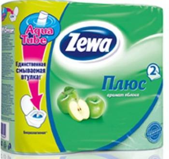 Туалетная бумага «Zewa Плюс» Яблоко 4 рул., 2-х сл.