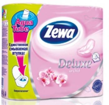 Туалетная бумага «Zewa Delux» Орхидея 4 рул., 3-х сл.