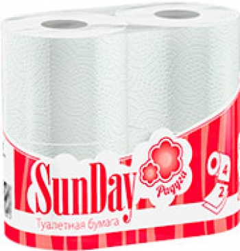 """Туалетная бумага """"Радуга SunDay"""", 4 шт. 2-сл."""