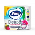Туалетная бумага «Zewa Delux» Белая 4 рул., 3-х сл.