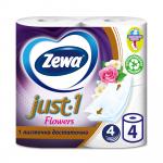 Туалетная бумага «Zewa JUST 1» Flowers 4 рул., 4-х сл.