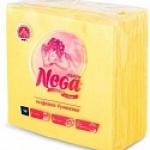 Салфетки бумажные «Nega» (Нега), 75 л., 1-сл., 24х24 см, желтые