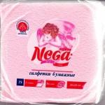 Салфетки бумажные «Nega» (Нега), 75 л., 1-сл., 24х24 см, розовые