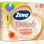 Туалетная бумага «Zewa Delux» Персик 4 рул., 3-х сл.