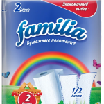 Полотенца бумажные «Familia» Радуга  2сл., 2шт., белые