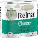 Туалетная бумага «Reina» 4 рул., 2-х сл., белая